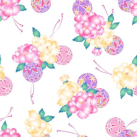 japanese style: Japanese style peony pattern Illustration