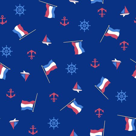 flag and anchor pattern 向量圖像