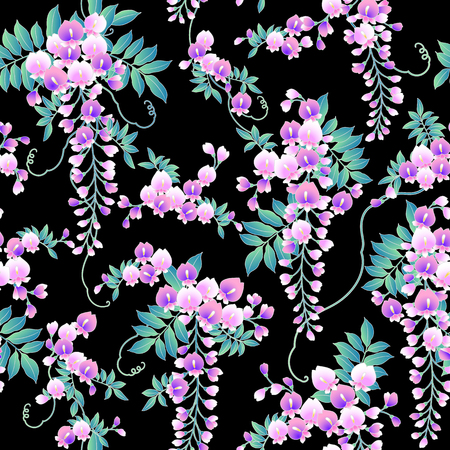Japanese style wisteria flowers pattern