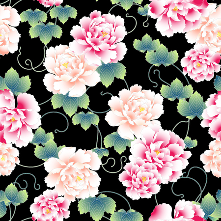 flower ornament: Japanese style peony pattern Illustration