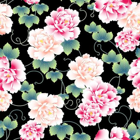 patrón de peonía estilo japonés Ilustración de vector