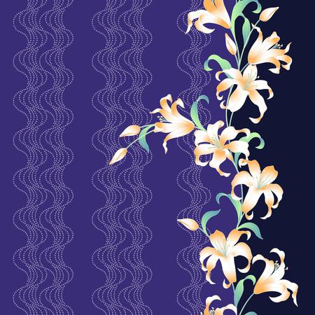 pattern: Japanese style lily pattern Illustration