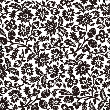 Black and white chintz seamless pattern.