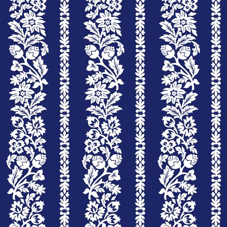 Blue horizontal chintz seamless pattern.