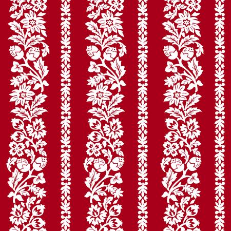 Red horizontal chintz seamless pattern.
