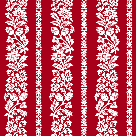 printed material: Red horizontal chintz seamless pattern.