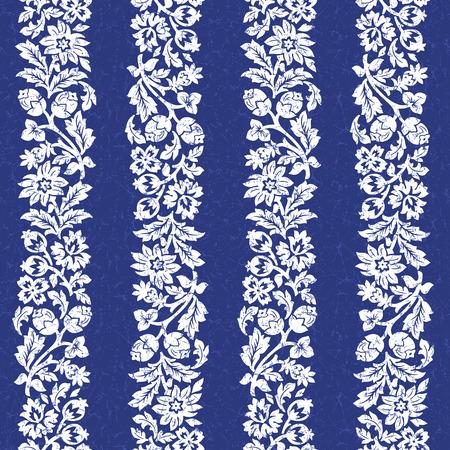 Dark blue chintz seamless pattern