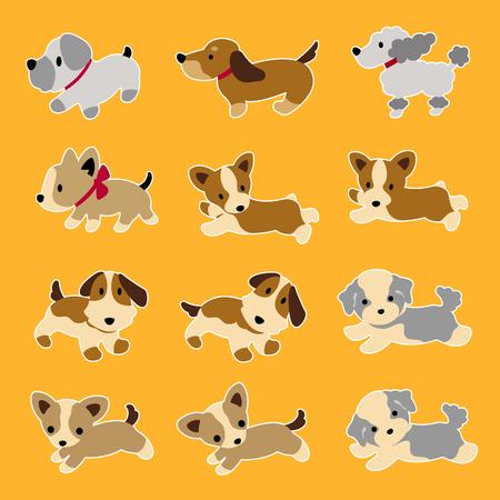 interesting: Dog illustration on orange background.