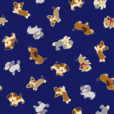 Dog illustration pattern on dark blue background.