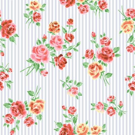 seamlessly: Rose illustration pattern