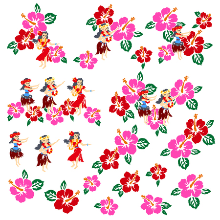 Hibiscus floral seamless patter vector illustration.