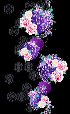 Japanese style flower pattern Illustration