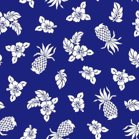 パイナップルとハイビスカスのパターン