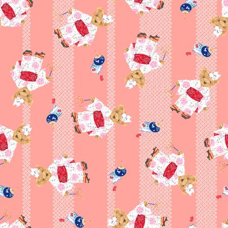 Bear illustration pattern 版權商用圖片