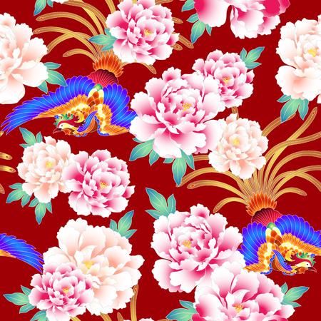 Peony and Chinese phoenix pattern