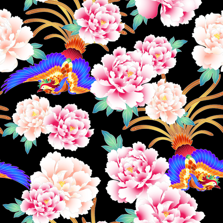 Peony and Chinese phoenix pattern Vector Illustration
