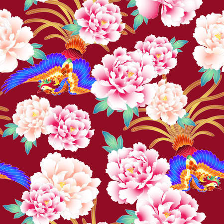 Peony and Chinese phoenix pattern Stock Illustratie