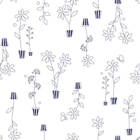 園芸植物のパターン  イラスト・ベクター素材