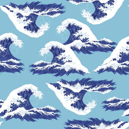 Ukiyoe print wave Illustration