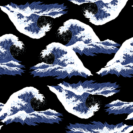 Ukiyoe print wave Illusztráció