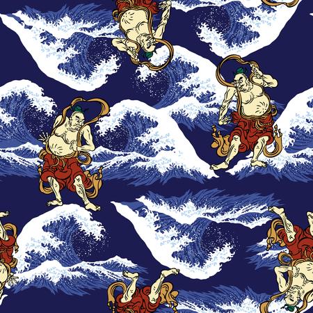 Ukiyoe print wave Ilustrace