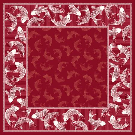Japanse stijl karper sjaal Stock Illustratie