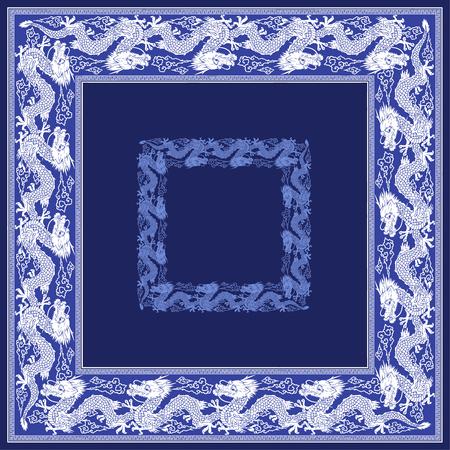 Japanse stijl draak sjaal Stock Illustratie