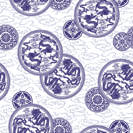 Ornament pattern of the dragon 向量圖像