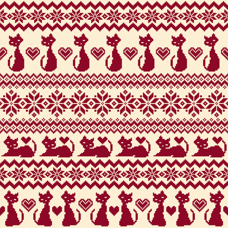 Nordic pattern illustration with a feline.