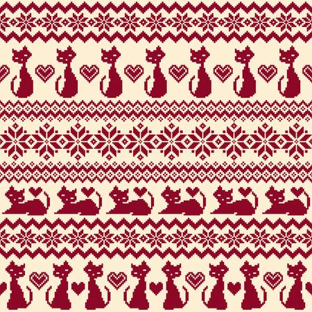 Ilustracja wzór Nordic z kotem.
