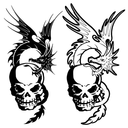 superstitious: skull and dragon illustration,