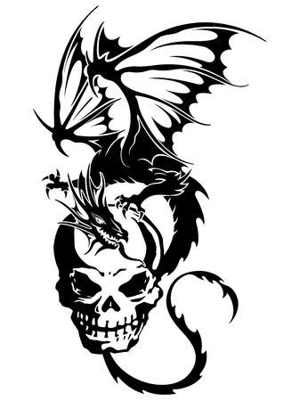 skull and dragon illustration, white background