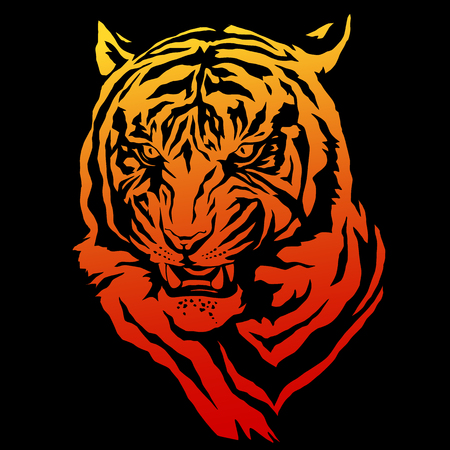 Illustration of tiger on black background.