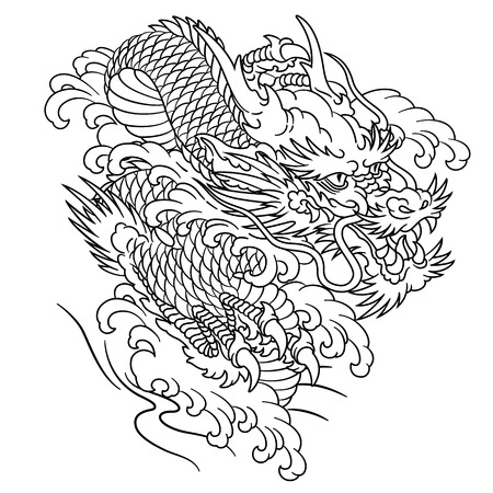 Japanese style dragon illustration,