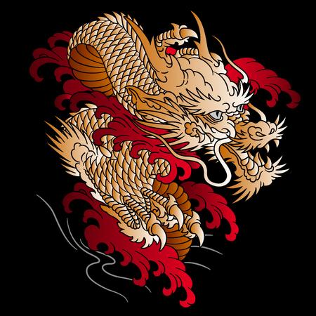 Japanse stijl draak illustratie, Stock Illustratie
