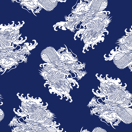 Japanese style dragon pattern, Illustration