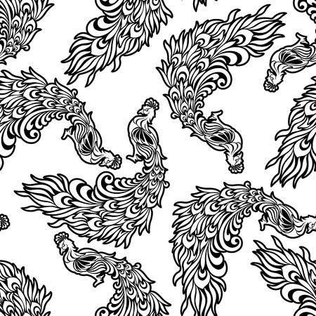 孔雀の Illustratin パターン,