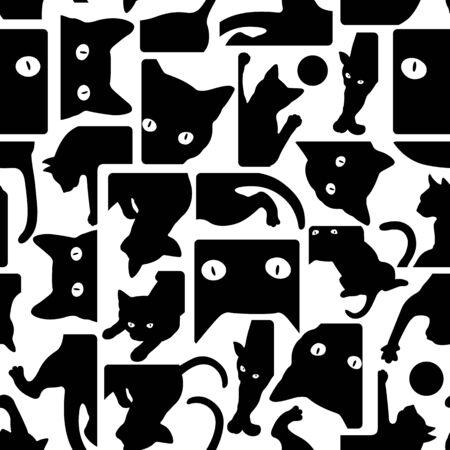 원활한 예쁜 고양이 패턴 일러스트