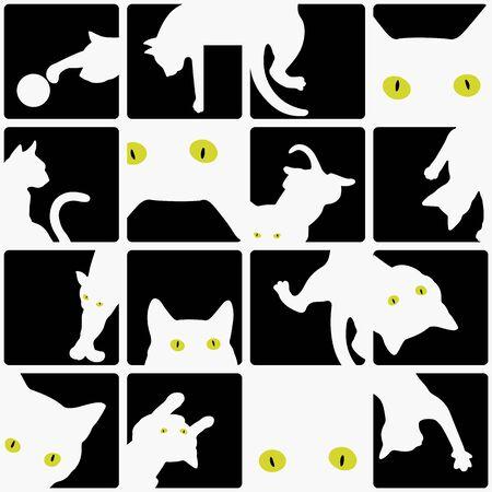 Seamless Pretty cat pattern 向量圖像