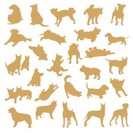 Dog illustration material on white background.