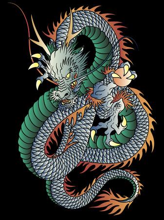 Dracheillustration der japanischen Art auf schwarzem Hintergrund.