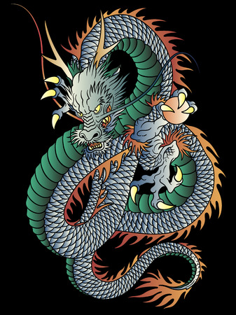 Japanese style dragon illustration on black background.