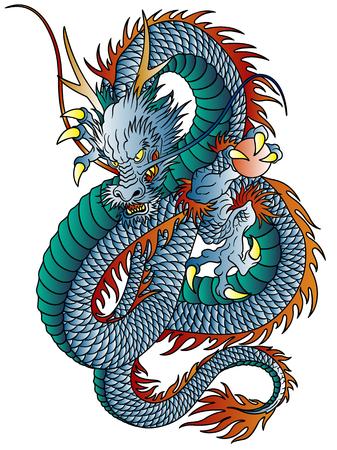 Japanese style dragon illustration isolated on white. Vettoriali