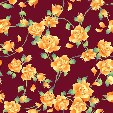Steeg illustratiepatroon. Ik ontwierp een roos die ik in vectoren heb gewerkt. Dit schilderij gaat herhaaldelijk naadloos door