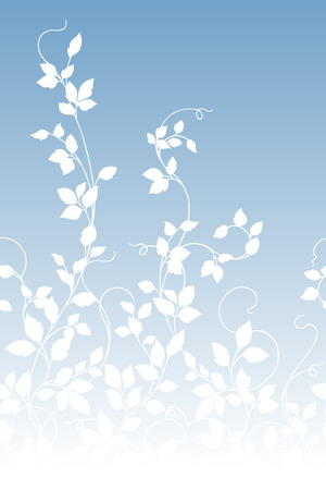 Leaf illustration patterN on blue background, vector illustration. 矢量图像