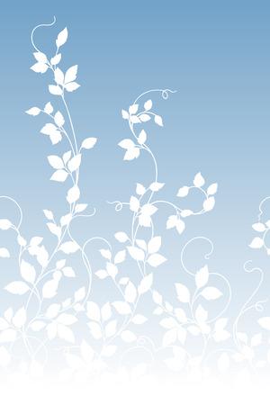 Leaf illustration patterN on blue background, vector illustration. Ilustração