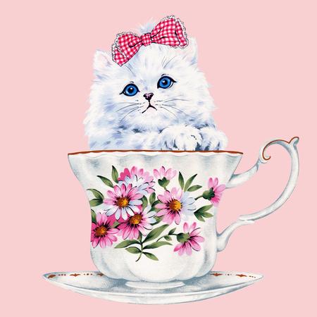 예쁜 고양이 그림 스톡 콘텐츠
