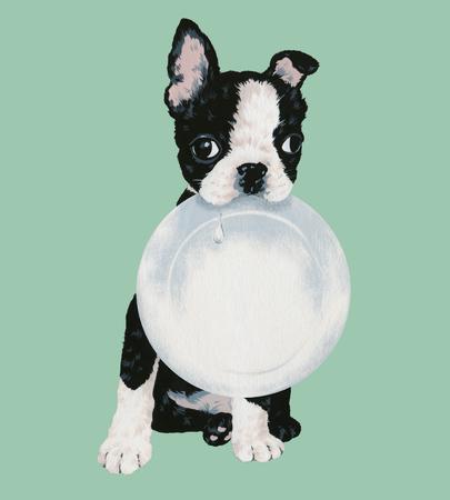 かわいい犬のイラスト、可愛い子犬のイラストを作りました、筆とペンキで描いて 写真素材