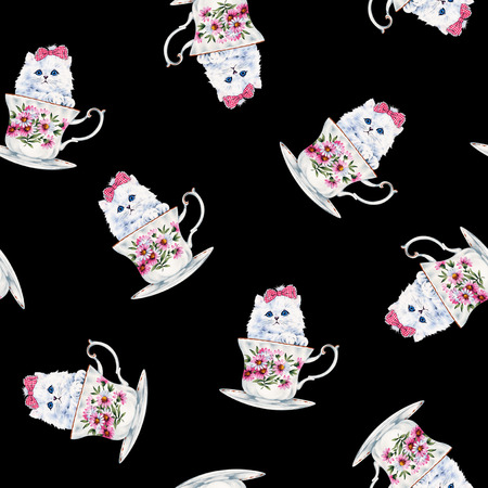 Pretty cat pattern, I made the illustration of a pretty kitten, I draw it with a writing brush and paint, I continue seamlessly,