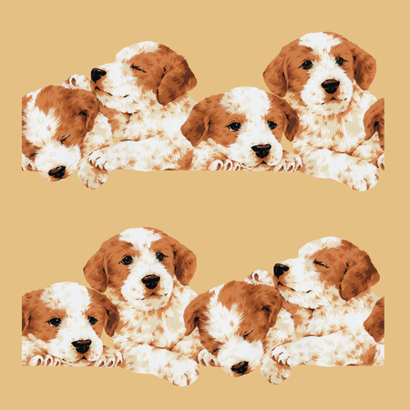Pretty dog illustration, I made the illustration of a pretty puppy, I draw it with a writing brush and paint,